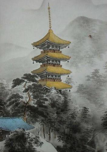 """Схема вышивки  """"Горная пагода """" ."""
