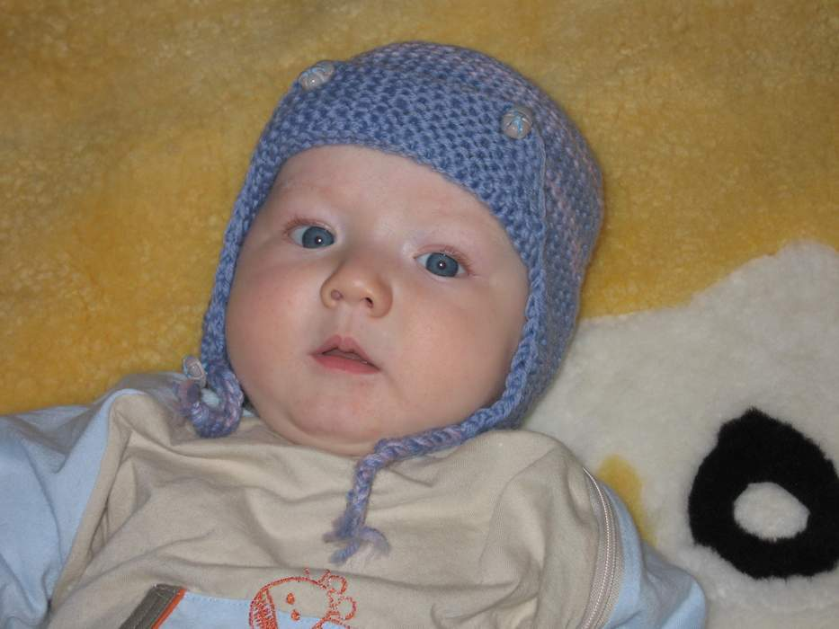 Вязание шапочки с ушками для новорожденного мальчика 92