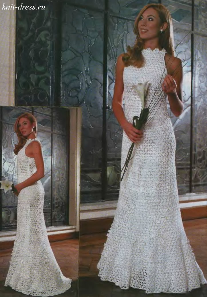 Фото свадебного вязанных платьев крючком